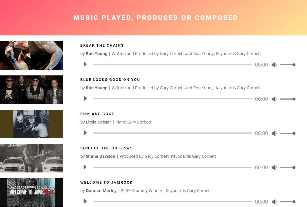 Gary Corbett Music Resume