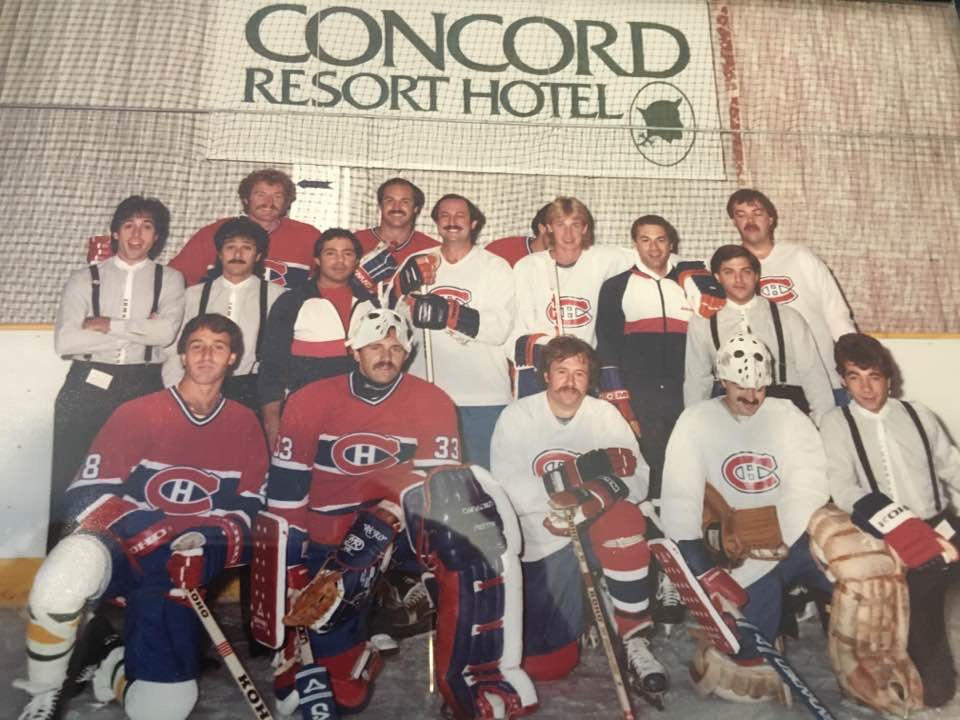"On the ice with members of the Montreal Canadians hockey team, and other NHL all stars, including hall of famer, Larry Robinson, and ""the great one"" Wayne Gretzky"