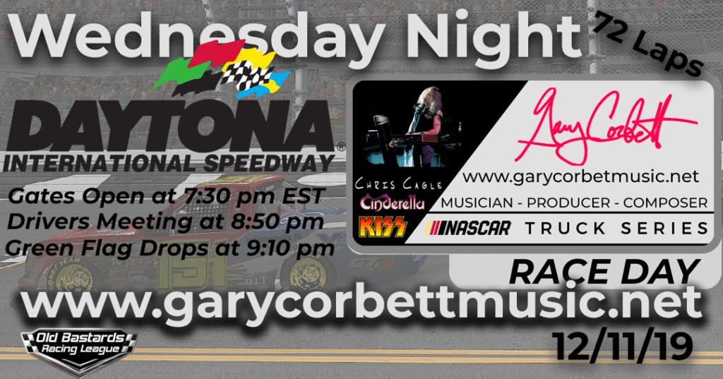 Nascar Gary Corbett Grammy Winning Keyboardist Truck Series Race at Daytona International Speedway